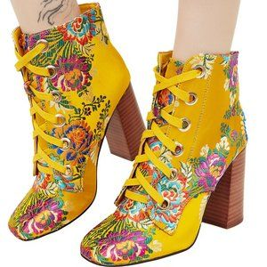 Privileged Luella Yellow Floral Lace-Up Booties 9